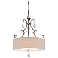 Minka Lavery Gwendolyn Place 3 Light Pendant in Dark Rubbed Sienna With Aged Silver 4353-593