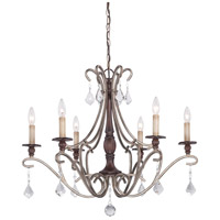 Gwendolyn Place 6 Light 30 inch Dark Rubbed Sienna/Aged Silver Chandelier Ceiling Light