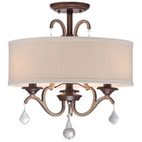 Minka Lavery Gwendolyn Place 3 Light Semi-Flush in Dark Rubbed Sienna With Aged Silver 4357-593
