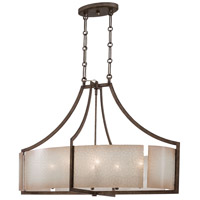 Clarte 6 Light 21 inch Patina Iron Pendant Ceiling Light, Oval