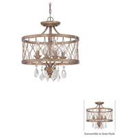 West Liberty 4 Light 16 inch Olympus Gold Mini Chandelier Ceiling Light, Convertible To Semi Flush