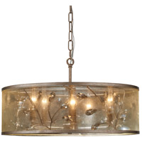 Saras Jewel 5 Light 21 inch Nanti Champaign Silver Pendant Ceiling Light, Convertible To Semi Flush