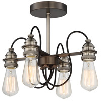 Uptown Edison 4 Light 14 inch Harvard Court Bronze/Pewter Semi Flush Mount Ceiling Light