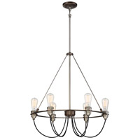 Uptown Edison 6 Light 25 inch Harvard Court Bronze/Pewter Pendant Ceiling Light