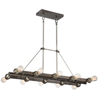 Uptown Edison 10 Light 38 inch Harvard Court Bronze/Pewter Island Light Ceiling Light