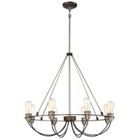 Uptown Edison 8 Light 30 inch Harvard Court Bronze/Pewter Chandelier Ceiling Light