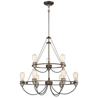 Uptown Edison 9 Light 27 inch Harvard Court Bronze/Pewter Chandelier Ceiling Light
