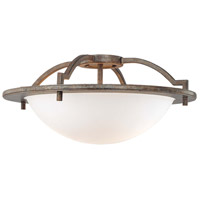 Compositions 2 Light Aged Patina Iron Semi Flush Mount Ceiling Light