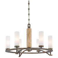 Minka-Lavery Compositions 6 Light Chandelier in Aged Patina Iron w/Travertine Stone 4466-273