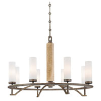 Minka-Lavery Compositions 8 Light Chandelier in Aged Patina Iron w/Travertine Stone 4468-273
