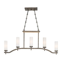 Minka-Lavery Compositions 5 Light Island Light in Aged Patina Iron w/Travertine Stone 4469-273