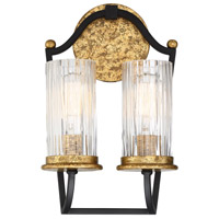 Posh Horizon 2 Light 9 inch Sand Black with Gold Leaf Wall Sconce Wall Light