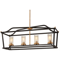 Minka-Lavery 4513-100 Posh Horizon 4 Light 40 inch Sand Black/Gold Leaf Island Light Ceiling Light