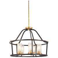Posh Horizon 5 Light 26 inch Sand Black with Gold Leaf Pendant Ceiling Light