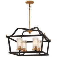 Minka-Lavery 4516-100 Posh Horizon 4 Light 21 inch Sand Black with Gold Leaf Pendant Ceiling Light