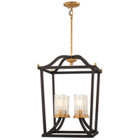 Posh Horizon 4 Light 16 inch Sand Black with Gold Leaf Pendant Ceiling Light