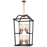 Posh Horizon 8 Light 18 inch Sand Black with Gold Leaf Pendant Ceiling Light