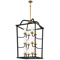 Posh Horizon 12 Light 24 inch Sand Black with Gold Leaf Pendant Ceiling Light
