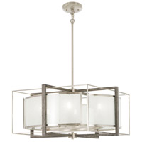 Minka-Lavery 4567-098 Tysons Gate 6 Light 24 inch Brushed Nickel with Shale Wood Pendant Ceiling Light