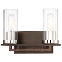 Minka-Lavery 4602-101 Maddox Roe 2 Light 13 inch Iron Ore with Gold Dust Bath Bar Wall Light