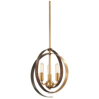 Criterium 3 Light 12 inch Aged Brass with Textured Iron Pendant Ceiling Light, Convertible To Semi-Flush