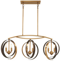 Criterium 6 Light 40 inch Aged Brass with Textured Iron Island Light Ceiling Light