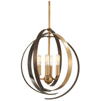 Criterium 4 Light 16 inch Aged Brass with Textured Iron Pendant Ceiling Light