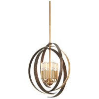 Minka-Lavery 4625-099 Criterium 6 Light 20 inch Aged Brass with Textured Iron Pendant Ceiling Light
