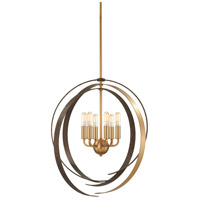 Criterium 6 Light 24 inch Aged Brass with Textured Iron Pendant Ceiling Light