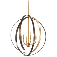 Criterium 6 Light 30 inch Aged Brass with Textured Iron Pendant Ceiling Light