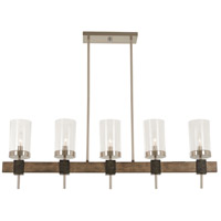 Bridlewood 5 Light 40 inch Stone Grey with Brushed Nickel Island Light Ceiling Light