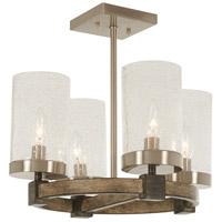 Bridlewood 4 Light 16 inch Stone Grey with Brushed Nickel Semi-Flush Mount Ceiling Light