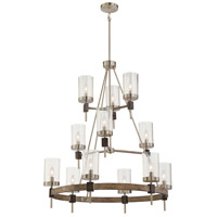 Bridlewood 12 Light 34 inch Stone Grey with Brushed Nickel Chandelier Ceiling Light