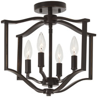 Minka-Lavery 4656-579 Elyton 4 Light 16 inch Downton Bronze with Gold Semi-Flush Mount Ceiling Light