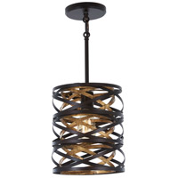 Minka-Lavery 4670-111 Vortic Flow 1 Light 9 inch Dark Bronze with Mosaic Gold Mini Pendant Ceiling Light