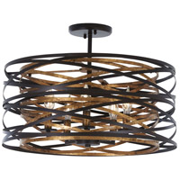 Vortic Flow 5 Light 20 inch Dark Bronze with Mosaic Gold Interior Semi-Flush Mount Ceiling Light, Convertible To Pendant