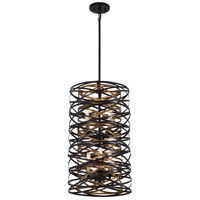 Minka-Lavery 4672-111 Vortic Flow 6 Light 14 inch Dark Bronze with Mosaic Gold Interior Pendant Ceiling Light