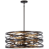 Minka-Lavery 4673-111 Vortic Flow 6 Light 26 inch Dark Bronze with Mosaic Gold Pendant Ceiling Light