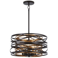 Minka-Lavery 4675-111 Vortic Flow 5 Light 16 inch Dark Bronze with Mosaic Gold Pendant Ceiling Light Convertible To Semi-Flush