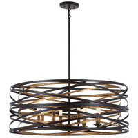 Minka-Lavery 4677-111 Vortic Flow 8 Light 30 inch Dark Bronze with Mosaic Gold Pendant Ceiling Light