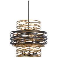 Vortic Flow 18 Light 30 inch Dark Bronze with Mosaic Gold Chandelier Ceiling Light
