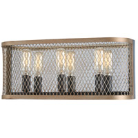 Minka-Lavery 4683-107 Marsden Commons 3 Light 16 inch Smoked Iron with Aged Gold Bath Bar Wall Light
