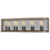 Minka-Lavery 4685-107 Marsden Commons 5 Light 24 inch Smoked Iron with Aged Gold Bath Bar Wall Light