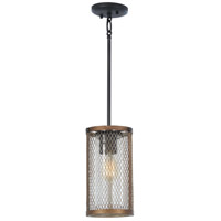 Minka-Lavery 4691-107 Marsden Commons 1 Light 6 inch Smoked Iron with Aged Gold Mini Pendant Ceiling Light