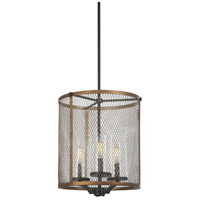 Minka-Lavery 4692-107 Marsden Commons 3 Light 14 inch Smoked Iron with Aged Gold Pendant Ceiling Light