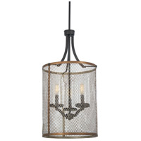 Minka-Lavery 4693-107 Marsden Commons 3 Light 14 inch Smoked Iron with Aged Gold Pendant Ceiling Light