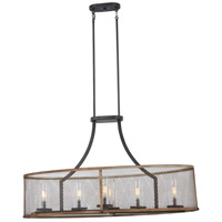 Minka-Lavery 4696-107 Marsden Commons 6 Light 41 inch Smoked Iron with Aged Gold Island Light Ceiling Light