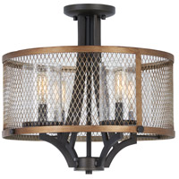 Minka-Lavery 4698-107 Marsden Commons 4 Light 17 inch Smoked Iron with Aged Gold Semi-Flush Mount Ceiling Light