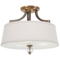 Minka-Lavery 4732-113 Safra 3 Light 15 inch Harvard Court Bronze with Natural Semi-Flush Mount Ceiling Light