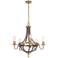 Safra 5 Light 25 inch Harvard Court Bronze with Natural Chandelier Ceiling Light